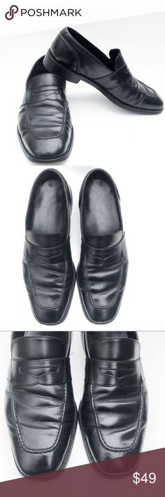 """[COLE HAAN] Men's Black Leather Penny Loafer, 11 DESCRIPTIONS: [COLE HAAN] Men's Black Leather Penny Loafer, Men's 11 - Classic Penny Loafer - Style# C04715 - Slip on - Leather up - Leather outsole - 1.25"""" Heel  CONDITIONS: - Preowned - Good Condition - Shows normal signs of wear - Shows normal scratches & scuff marks  FLAWS:  - Outsoles has been professionally restored by Cole HAAN - Left shoe has some scratch marks on the side (refer to the 5th picture) Cole Haan Shoes Loafers & Slip-Ons"""