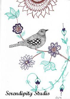 Hand Drawn Bird on branch  Zentangle by SerendipityStudioCW, $6.00