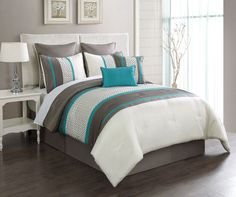 12 Piece King Aruba Turquoise/Taupe Bed in a Bag Set