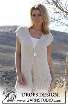 DROPS top in Bomull-Lin.  Size S - XXXL.  Free pattern by DROPS Design.