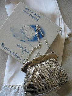 Vintage Whiting and Davis Silver Mesh by WhenRosesBloomShop