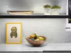 White glass mosaic modern kitchen backsplash from Backsplash.com