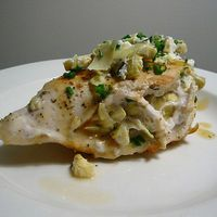 Chicken Breast Stuffed with Goat Cheese, Olives, and Artichokes by epicurious