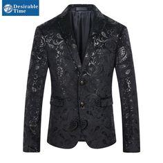 男性黒スパンコールブレザージャケットスリムフィットサイズm-4xl 2016ファッションパーティーステージメンズペイズリー花ベルベットブレザーDT184(China (Mainland))