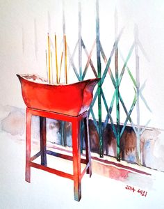 Temple Incense by Saehee Park - Hong Kong, 2014, Watercolor on paper, 24 x 18 cm. Discover more on www.parksaehee.com