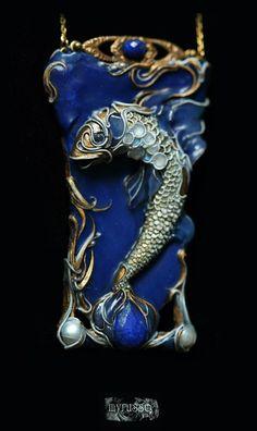 Kulon Goldfish - cordocentrika.livejournal.com. polymer clay, dry and oil pastels, ink, metal, adularia (moonstones), lapis lazuli, mother of pearl.  Technique: sculpture miniature, filigree, imitation enamel, mosaic.
