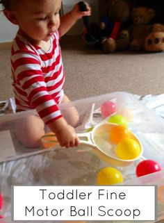 Toddler fine motor skill practice. Scooping and dumping. Messy play