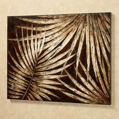 The Tropical Foliage Canvas Wall Art shows an artful display of a common sight for those in warm seaside climates. Handpainted oil on canvas features a textured tropical foliage design of palm leaves on a dark brown background. Gold Leaf Art, Art Watercolor, Texture Art, Art Plastique, Paint Designs, Art Pictures, Canvas Wall Art, Textured Canvas Art, Art Decor