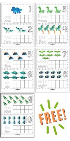 Free printable dinosaur ten frames
