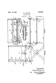 Patent US1643351 - QUILTING FrAME - Google Patents. What a great find!  Inventive wall art for under $5.  Patents for all kinds of fascinating inventions like garden tools, saddles, sailboats, lighthouses, quilt stands are available free. Download the image to a USB drive and take to a copy shop. Have them printed on large scale paper. www.google.com/patents