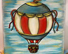 Hot Air Balloon Art | Children's Art Wall Decor | Original Painting