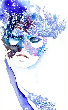 Watercolour fashion Illustration - Winter Masqueradeink