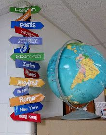 17 Best Images About Travel Theme Classroom On Around The Worlds It S A Small World travel theme directions sign classroom themes travel Geography Classroom, Multicultural Classroom, Social Studies Classroom, Geography Bulletin Board, History Bulletin Boards, Class Decoration, School Decorations, School Themes, History Classroom Decorations