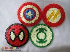 Superheroes Perler Bead Coasters