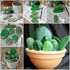 Rock Cactus Garden, such a great idea!!