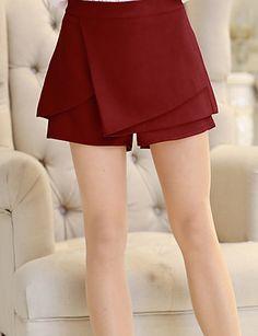De las mujeres Pantalones Cortos - Vintage/Casual/Para Trabajo Microelástico - Poliéster 3126579 2016 – $8.39