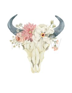 Nursery Art Cow Skull Boho Printable Wall Art by KReynaDesigns