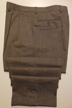 Ralph Lauren Pants 34 30 Beige Herringbone Trouser Wool Mens Size Olive Pleated* #LaurenRalphLauren #DressPleat