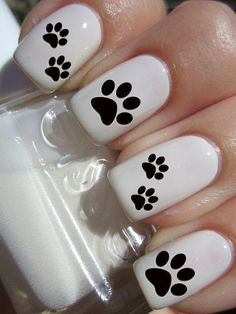 Puppy Paw Print Nail Decals by PineGalaxy on Etsy Más Cute Nail Art, Cute Nails, Dog Nail Art, Paw Print Nails, Nails For Kids, Dog Nails, Nail Decals, Fabulous Nails, Creative Nails