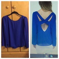 NWOT Blue Sheer Long Sleeve Open Back Top NWOT (I DISCOUNT THROUGH MERCARI AS TARABOU FOR $15) Tobi Tops Blouses