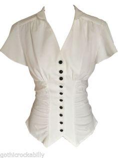 Ivory-White-Vintage-Retro-40s-Gothic-Steampunk-Gathered-Blouse-Shirt-Top