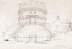 Mausoleo di Teodorico - schizzo lapis su carta, da taccuino viaggiatore inglese del 1842 – Raccolta personale.