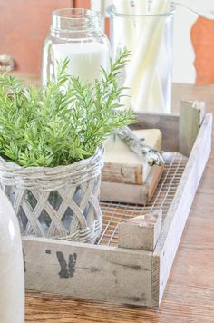 Learn how to use hardware cloth and a broken wood crate to create a must-have rustic decorating tray.  www.andersonandgrant.com