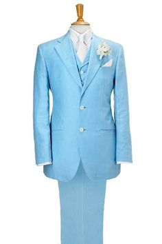 Get your groom to be your something blue in this lovely pale linen suit from Mark Powell Bespoke