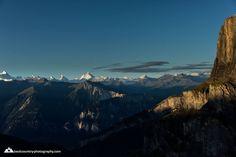 View from the Gemmi across LEUKERBAD to the mountains around Zermatt and Saas Fee. (photo: via Gemmipass / Berghotel Wildstrubel, Christian Betschart) Saas Fee, Zermatt, Wallis, Austria, Switzerland, Climbing, Landscapes, Photos, Christian