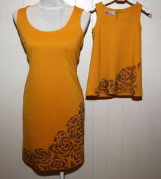 """Vestido """"pichi"""" mostaza pintado a mano. Mujer de ZAZELIA Happy Dress por DaWanda.com"""