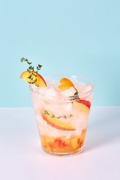 Bubbly Peach and Thyme Mocktail Recipe. Mocktails are perfect for pregnancy, teens, or anyone looking to take it easy and have a refreshing drink in the summertime. Non alcoholic recipes and ideas like this one are a piece of cake, perfect for a hot day! You'll need peach, thyme simple syrup, and seltzer.