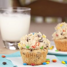 Monster Cookie Dough Cupcakes (peanut butter cupcakes with cookie dough frosting). Amazing!