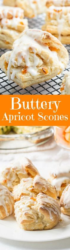 Buttery Apricot Scones ~ A light, flaky, buttery scone layered with chopped apricots and iced with an almond flavored glaze. http://www.savingdessert.com Apricot Scones Recipe, Apricot Muffins, Apricot Pie, Fried Scones Recipe, Apricot Recipes, Apricot Chicken, Recipe For Scones, Scone Recipe Easy, Scone Recipes