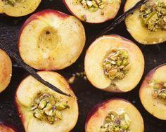 Vanilla Peaches with Pistachio Crumble, a recipe on Food52