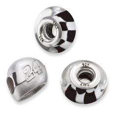 SS TWO CROSSED FLAG BEADS W/ 24 3D DRIVER HELMET BEAD