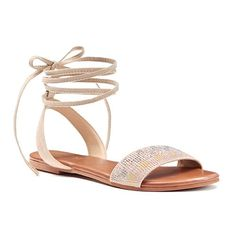 Candie's® Women's Beaded Lace-Up Sandals - Tan