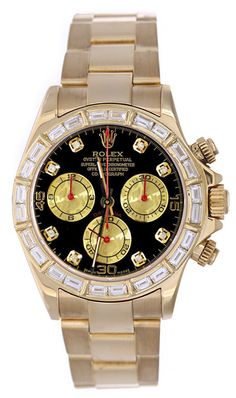 Rolex Daytona Yellow Gold Rainbow Diamond Dial / Baguette Diamond Bezel