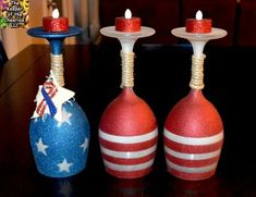 Patriotic Wine Glasses Candle Holders