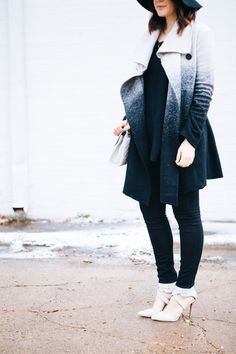 Skinny jeans under a long coat... avoids the triangle shape. Kendi Everyday