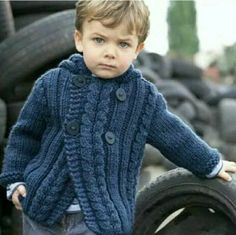 New Ideas For Baby Clothes Knitted Tricot Knit Baby Dress, Knitted Baby Clothes, Baby Cardigan, Crochet Clothes, Baby Knitting Patterns, Baby Patterns, Crochet Patterns, Crochet For Boys, Knitting For Kids