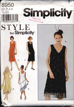 Simplicity 8950 Misses 1920s Fringed Flapper Dress Vintage Inspired Womens OOP Sewing Pattern