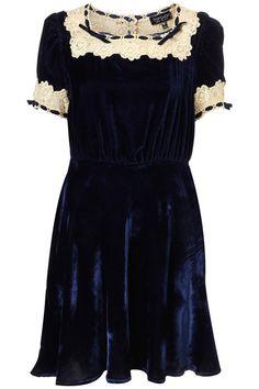 Topshop Midnight Blue Velvet Dress