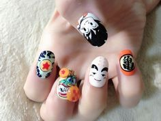 dragon ball anime nail art -- hand painted