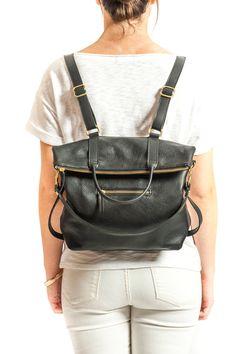 3-en-1 cuero mochila Laptop mochila Convertible por ARTandJILL