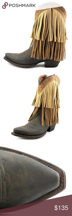 """Sugar Sand Fringe Pointed Snip Toe Cowgirl Boots COLOR: Crazy Horse Brown MATERIAL: Leather MEASUREMENTS: Shaft measures 7.5"""", Circumference measures 15"""" and 2"""" heel WIDTH: Medium (B, M) www.contemporarycowgirlbooteryboutique.com Redneck Riviera Shoes Heeled Boots"""