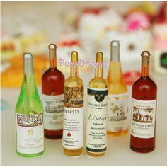 1:12 Miniature 6pcs Green Beer Wine Bottles Set Drink Beverage Model Dollhouse