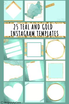 Are you fed up spending countless hours trying to create your own Instagram templates on Canva only to end up frustrated? Then these beautiful Instagram post templates are for you! These pretty instagram template designs will give your feed an amazing glow up. Instagram post ideas | Mint and Gold Instagram Templates | Instagram Feed | Instagram quotes | Instagram | Pretty instagram | Instagram post ideas #instagramtemplates #instagramposts #instagramstories