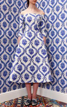 【Tata Naka】Porcelain Wallpaper Off Shoulder Dress $1,365