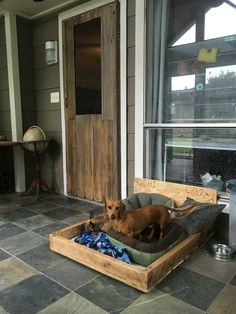 Full view of the pallet dog bed