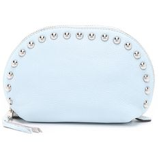 Rebecca Minkoff Dome Pouch ($95) ❤ liked on Polyvore featuring bags, handbags, clutches, bleached blue, blue studded handbag, studded leather handbag, leather purse, studded purse and studded leather purse